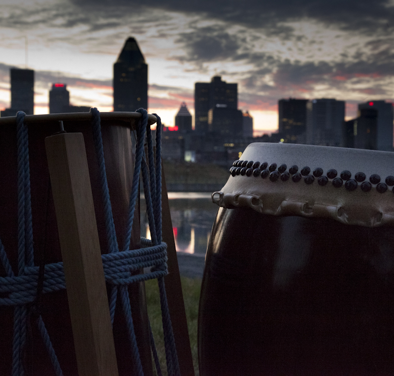 our taiko and the Montreal skyline at dusk